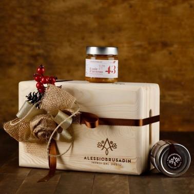 Box esclusivo in legno contenente 6 confetture speciali, al cioccolato o marmellate di agrumi di Alessio Brusadin