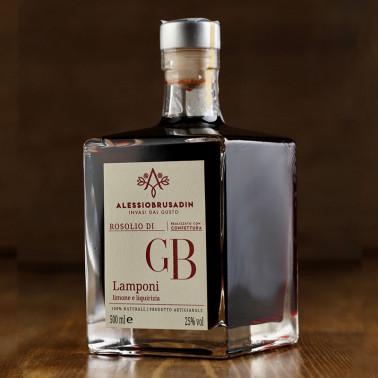 """Rosolio """"GB"""" di Lamponi, Limone e Liquirizia 500 ml di Alessio Brusadin"""